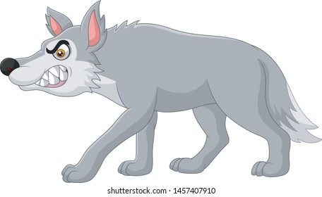 Cartoon angry wolf isolated on white background