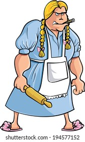Cartoon angry woman with rolling pin. Isolated