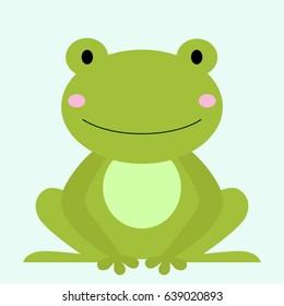 Cartoon animal, cute frog on blue backgrounds. Flat design. Vector Illustration.