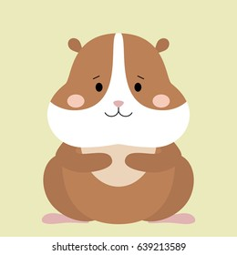 Cartoon animal, cute hamster on green backgrounds. Flat design. Vector Illustration.