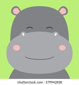 Cartoon animal, cute hippo on green backgrounds. Flat design.Vector Illustration.
