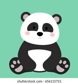 Cartoon animal, cute panda bear on green background. Flat design.Vector Illustration.