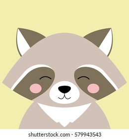 Cartoon animal, cute raccoon on yellow backgrounds. Flat design.Vector Illustration.