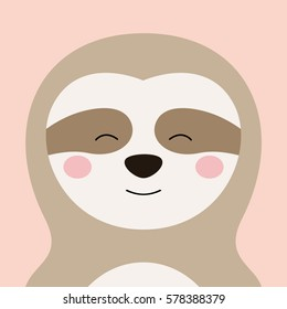 Cartoon animal, cute sloth on pink backgrounds. Flat design.Vector Illustration.