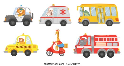 Cartoon animal driver. Animals in emergency ambulance, firetruck and police car. Zoo taxi, public bus and delivery truck. Ambulance and police animals drivers lion, cow, bear isolated vector icons set