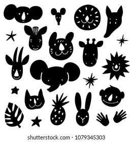 Cartoon animal heads bundle. Modern concept of flat design for kids cards, banners and invitations, stencil path for laser cutting of plywood or paper. Hand drawn vector doodle illustration.
