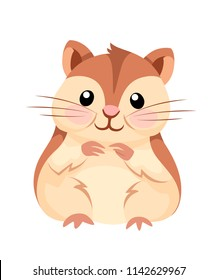 Cartoon animal illustration. Cute hamster sit and smiling. Flat character design. Vector illustration isolated on white background.