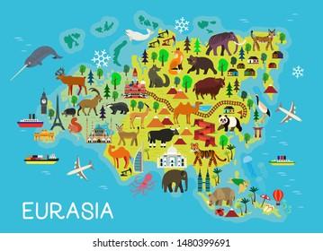Cartoon animal map. Eurasia. Vector Illustration.