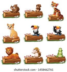 Cartoon animal on tree log