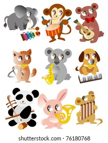 cartoon animal play music icon