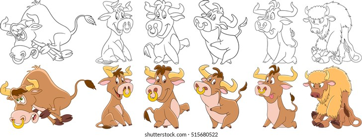 Cartoon animal set. Childish collection of farm cattle. Bull, buffalo, bison, ox, yak, calf. Coloring book pages for kids.