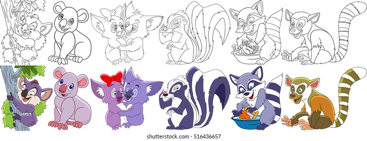 Cartoon animal set. Childish collection of fluffy mammals. Koala bears, bad smelling skunk, raccoon washing dirty clothes, ring tailed lemur. Coloring book pages for kids.