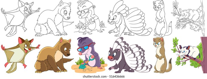 Cartoon animal set. Childish collection of fluffy rodents. Squirrel, marten, ferret, polecat, mole, porcupine, weasel, otter, opossum. Coloring book pages for kids.