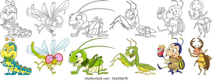 Cartoon animal set. Childish collection of garden insects and pests. Caterpillar, dragonfly, grasshopper, mantis, colorado potato beetle, stag bug. Coloring book pages for kids.