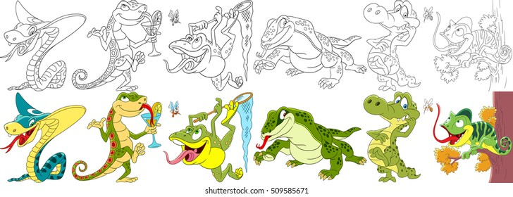 Cartoon animal set. Collection of reptiles and amphibians. King cobra snake, gecko (salamander), frog (toad), monitor lizard (varan), crocodile (alligator), chameleon. Coloring book pages for kids.