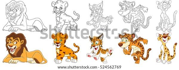 Vetor Stock De Conjunto De Animais De Desenho Animado Livre De