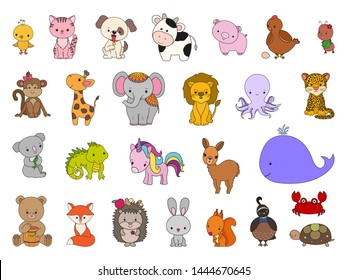 Cartoon animal set. Cute baby children vector illustration collection. Funny sweet kawaii animals. Colorful outline drawing. Zoo animal icons. Domestic and wild. Land and sea. Woodland and tropical.