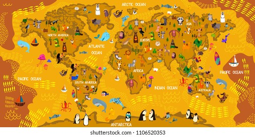 Cartoon world map traditional animals illustrated stock vector cartoon animal world map animals from all over the worldoceans and continents gumiabroncs Images