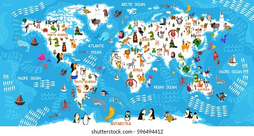 Cartoon animal world map. Animals from all over the world,oceans and continents.Great for kids design,educational game,magnet or poster design.Vector illustration - stock vector