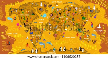 Cartoon Animal World Map Animals All Stock Vector Royalty Free