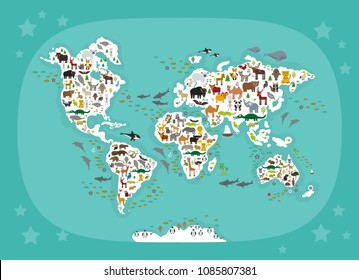 Animals World Map Children Kids Animals Stock Vektorgrafik