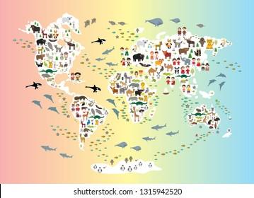 Cartoon Animal World Map Children Kids Stock Vector Royalty Free