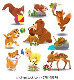 cartoon animals in action