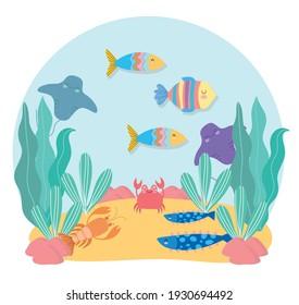 cartoon animals algae life underwater