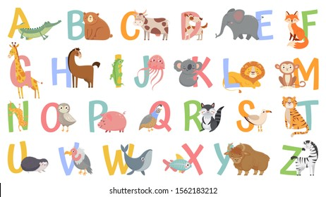 Cartoon animals alphabet for kids. Learn letters with funny animal, zoo ABC and english alphabet for kids. Alphabetically animals characters. Isolated vector icons illustration set