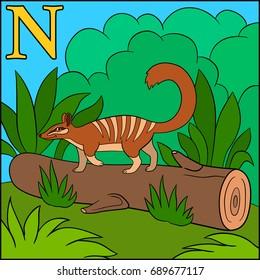 Cartoon animals alphabet. N is for Numbat.