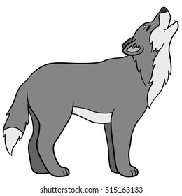 Cartoon animals. Beautiful wolf stands and howls.