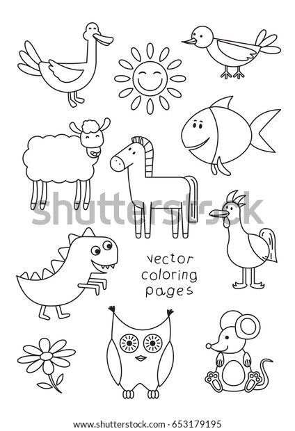 Cartoon Animals Coloring Book Children Vector Stock Vector (Royalty Free)  653179195