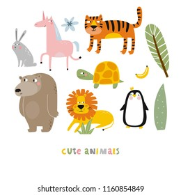 Cartoon animals. Cute wild animals. Hare, unicorn, tiger, turtle, banana, bear, lion, penguin
