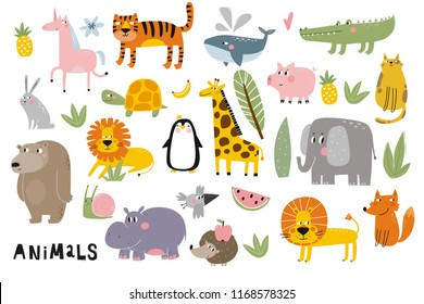 Cartoon animals. Cute wild animals. Lion, elephant, giraffe, crocodile, turtle, whale