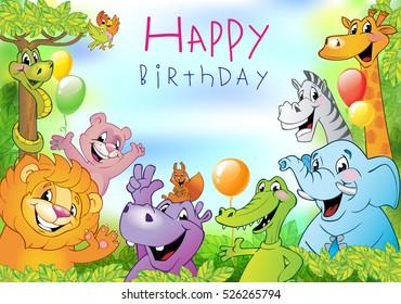 Cartoon animals, festive background or Birthday greeting card