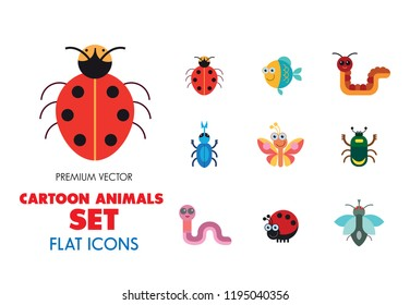Cartoon animals icons set. Kangaroo, pig, bat, bee, fish. Fauna concept. Can be used for topics like nature, wildlife, wilderness, cattle
