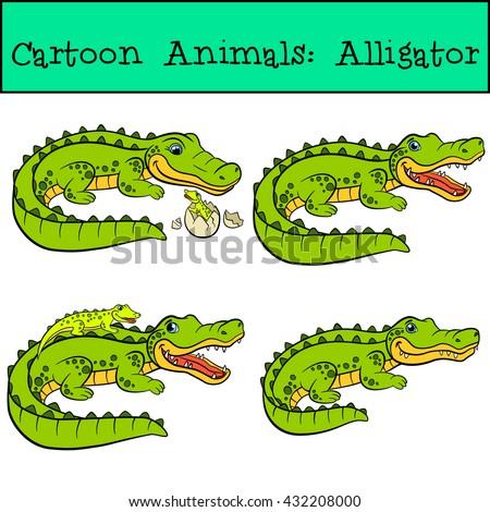 Cartoon Animals Kids Alligator Cute Alligators Stock Vector Royalty