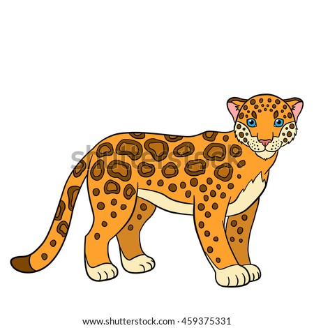 Cartoon Animals For Kids. Cute Jaguar Stands And Smiles.
