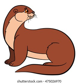 Cartoon animals. Little cute otter sits and smiles.