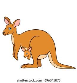 Cartoon animals. Mother kangaroo with her little cute baby kangaroo.