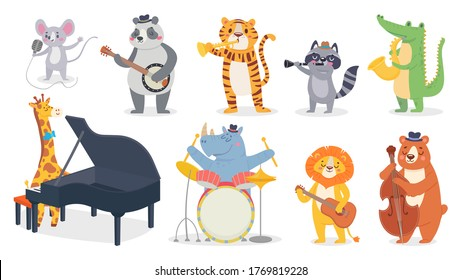 Cartoon animals with music instruments. Giraffe play piano, cute panda with banjo and alligator plays saxophone. Lion with guitar, hippo play on drum illustration