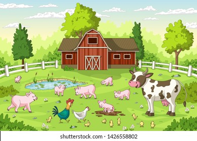 Cartoon animals on a farm. Summer Landscape with red house and fence.