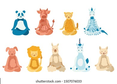 Cartoon animals performing yoga exercise. Drawing panda, cow, jaguar, zebra, dog, cat, lion, lama and unicorn character sitting in lotus posture and meditating vipassana meditation Isolated. Flat.