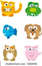 cartoon of animals (pig, frog, kitten, owl, fish)