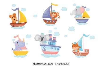 Cartoon Animals in Sailor Hats Boating and Sailing Vector Set