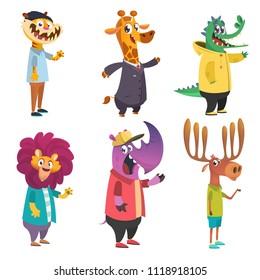 Cartoon animals set. Animal in clothing. Casual style. Cartoon vector illustration. Tiger, giraffe, lion, crocodile, moose, rhino. Flat style illustration