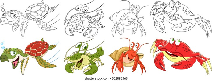 Cartoon animals set. Collection of arthropods and creeping reptilians. Turtle (tortoise, terrapin), hermit crab, lobster, crayfish. Coloring book pages for kids.