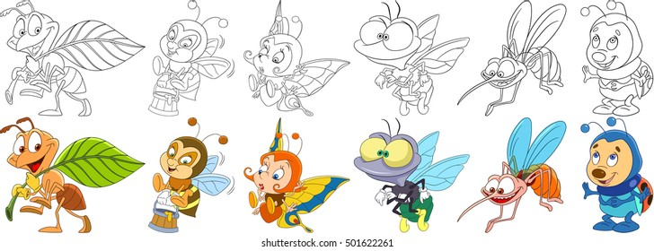 Cartoon animals set. Collection of insects. Busy ant, bee (bumblebee) with honey, butterfly, house fly, mosquito (gnat, midge), ladybug (ladybird). Coloring book pages for kids.