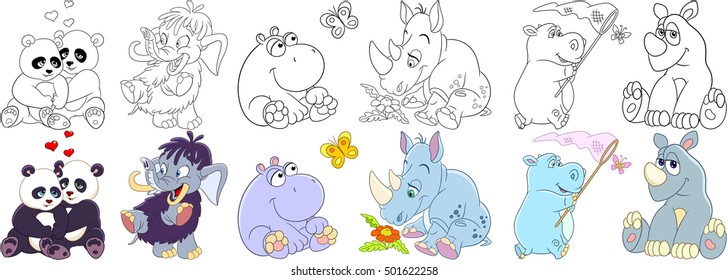 Cartoon animals set. Collection of mammals. Panda bears in love, mammoth (elephant), hippo (hippopotamus, behemoth), butterfly, rhino (rhinoceros) and daisy flower. Coloring book pages for kids.