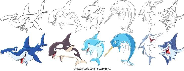 cartoon animals set collection underwater 260nw